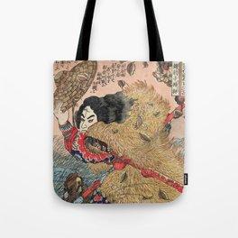 Samurai Japanese Woodblock Print by Utagawa Kuniyoshi Tote Bag