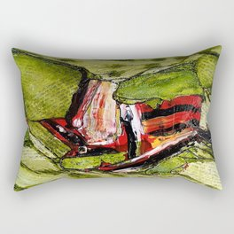 Independence - Mixed Media Acrylic Glass Beads Collage Abstract Modern Art, 2015 Rectangular Pillow