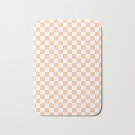 White and Deep Peach Orange Checkerboard Bath Mat