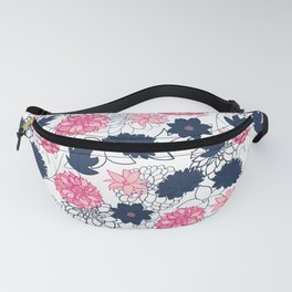 Floral with navy and pink v1 Fanny Pack