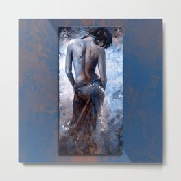 Lady in red 27 style version Magic blue Metal Print
