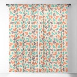 Vintage Old Christmas Tile Sheer Curtain