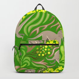 Dinosaurs with green and yellow plants on green background. Seamless pattern. Backpack