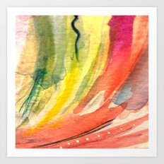 Details 6 - Pretty Pink Green and Yellow Watercolor Art Print