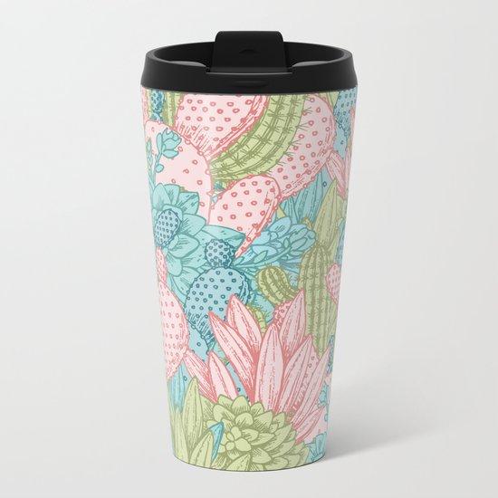 Pastel Cacti Obsession #society6 Metal Travel Mug