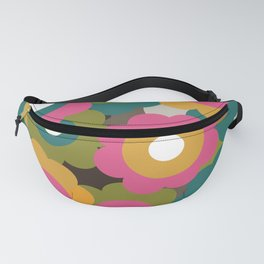 Retro Vintage Flowers - Yellow Pink Turquoise Fanny Pack