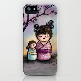 Kokeshis Mother and daughter iPhone Case