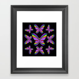 Butterfly Psychedelic Rainbow Framed Art Print