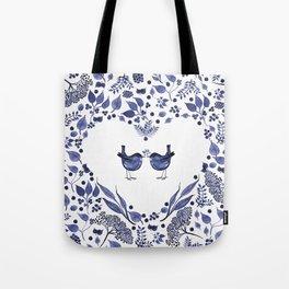 BLUE BIRDS WATERCOLOR - THE GIFT - INDIGO Tote Bag