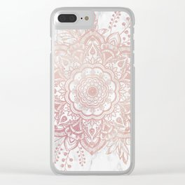 Queen Starring of Mandala-White Marble Clear iPhone Case