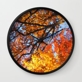 Autumnal colors in forest Wall Clock