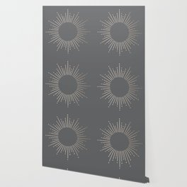 Simply Sunburst in White Gold Sands on Storm Gray Wallpaper