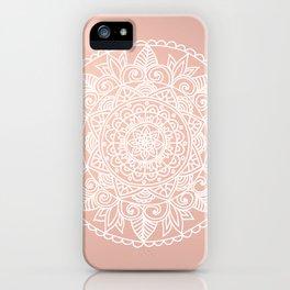 White Mandala on Rose Gold iPhone Case
