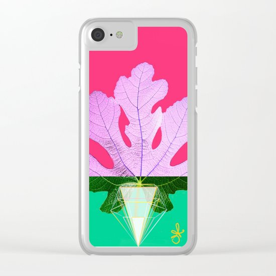 Fig Leaf Diamond Christmas Half and Half  Clear iPhone Case