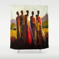 women Shower Curtains featuring Women by shelbymcquilkin