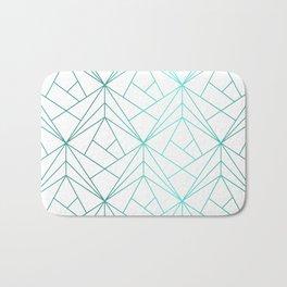 Geometric Turquoise Pattern Bath Mat