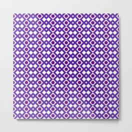 Geometric Design - Purple White and Magenta  - Diamonds Circles Squares Metal Print