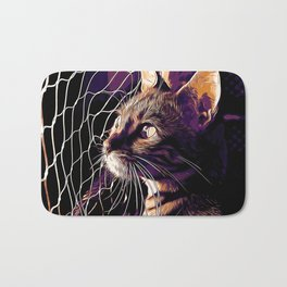 bengal cat yearns for freedom vector art late sunset Bath Mat