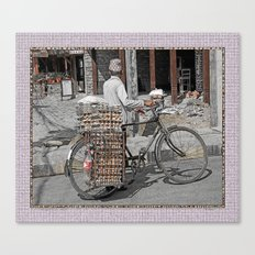 Fresh Eggs by Bicycle in Nepal Canvas Print