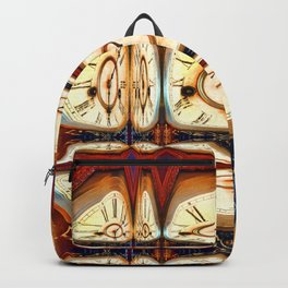 Multiple traditional antique clock faces with Roman numerals shown in glass reflection shapes Backpack