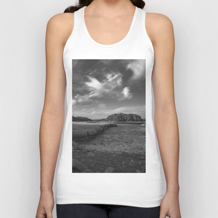 Sky and Marsh Black and white Unisex Tank Top