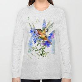 Alen's Hummingbird and Blue Flowers, floral bird design birds, watercolor floral bird art Long Sleeve T-shirt