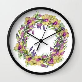 Wreath, Orchid, Clipart, watercolor, handpainted, floral, flower, design, stylish Wall Clock