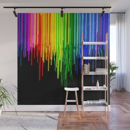 Rainbow Paint Drops on Black Wall Mural