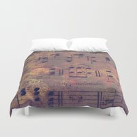 decal Duvet Covers featuring Notes I Keep by Charlene McCoy