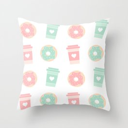 cute colorful donuts and coffee pattern background illustration Throw Pillow