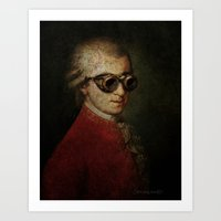 mozart Art Prints featuring Funny Steampunk Mozart by Paul Stickland for StrangeStore