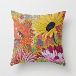 Jumpin' Gerberas Abstract Painting Throw Pillow