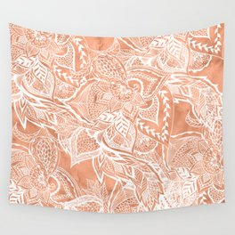 Modern tan copper terracotta watercolor floral white boho hand drawn pattern Wall Tapestry