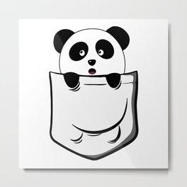 Pocket Panda Onesie Metal Print