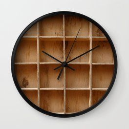 Empty wooden cabinet with cells Wall Clock
