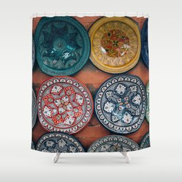 Arabic Moroccan Plates On Wall In Marrakech Shower Curtain