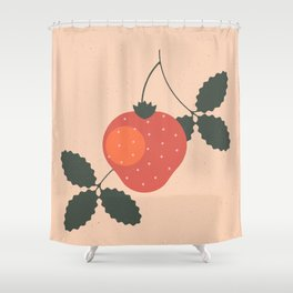 Strawberry Berry Fruit in Retro Shower Curtain