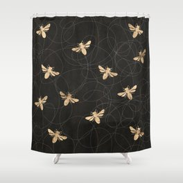 Busy Bees (Black) Shower Curtain