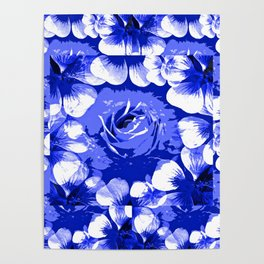 Roses Blue and White Toile #2 Poster