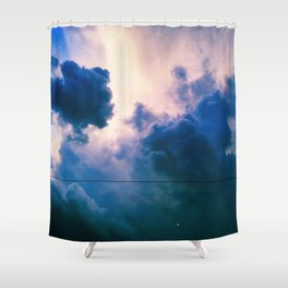Blue Fluff Party Shower Curtain