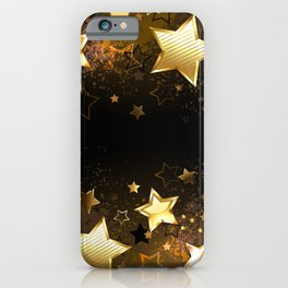 Background with golden stars iPhone Case