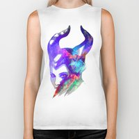 maleficent Biker Tanks featuring Maleficent by Ryky