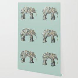 Elephant Paper Collage in Gray, Aqua and Seafoam Wallpaper