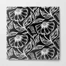 Black and White Flower and Vine Pattern Metal Print