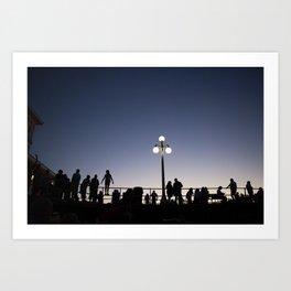 Boardwalk Silhouettes Art Print
