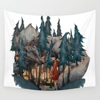 red riding hood Wall Tapestries featuring Little Red Riding Hood by Anne Lambelet