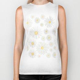 white daisy pattern watercolor Biker Tank