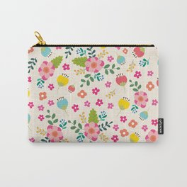 Cute Pastel Spring Flower Pattern Carry-All Pouch