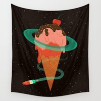 planet Wall Tapestries featuring Ice Cream Planet by badOdds
