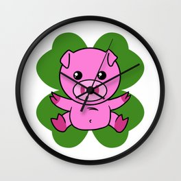 Pig On Four Leaf Clover - St. Patricks Day Funny Wall Clock